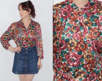 Vintage 1980's Red Green FLORAL Patterned SILKY Feel OVERSIZED Long Sleeve Blouse Top Size Medium 12 14