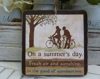 Handmade primitive wooden mixed media sign -  On A Summer's Day