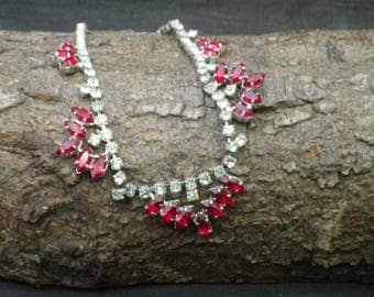Vintage White and Red Rhinestone Statement Necklace