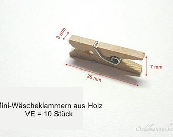 10 mini - clothespins from wood, approx. 25 x 3 x 7 mm