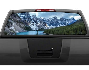 Mountain Scenery #5 Lake Landscape Rear Window Graphic Decal Truck SUV (Perforated)