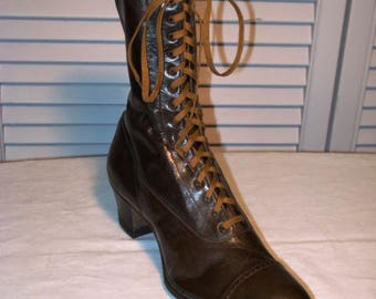 Single Edwardian high top shoe in unworn condition.  Probably a salesman's sample.