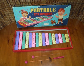 Vintage Child's Portable Xylophone - Vintage 1940's Metal Xylophone Musical Instrument Toy - Vintage Children's Metal Percussion Toy Set