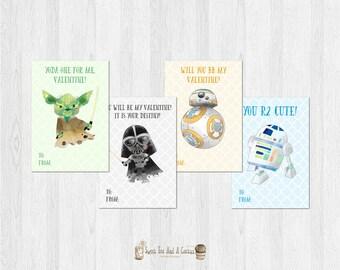 Star Wars Valentines Day Card Set Kids Printable Valentine's Day Cards Digital File Sci-fi Darth Vader BB-8 Yoda and R2-D2 Digital File