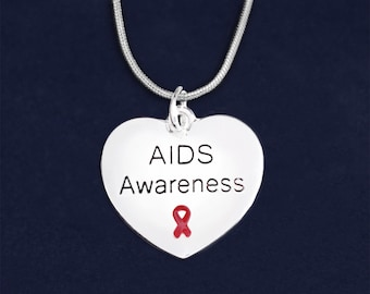 12 AIDS Awareness Ribbon Heart Necklaces in Gift Boxes (12 Necklaces) (N-B01-6AI)