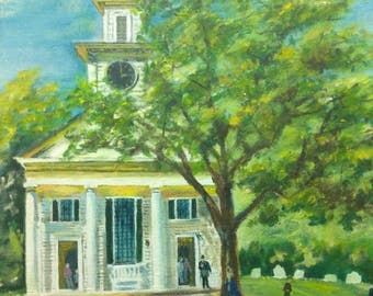 Old Vintage American Folk Art Church Landscape Oil Painting Horse and Buggy Signed