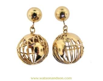 14k Yellow Gold Globe Earrings