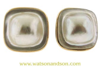 14k Square Mabe Pearl Clip Earrings