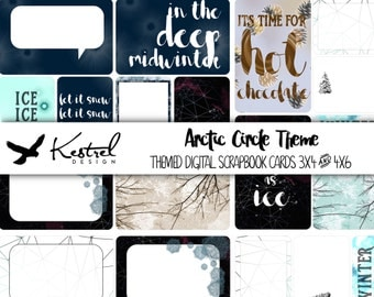 Digital Scrapbook Cards - 16 Arctic Circle Themed Cards in 4x6 and 3x4 size - Kestrel Design immediate download - project life daily