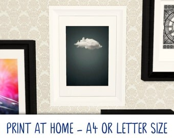 Printable A4/Letter art poster · Dark Cloud · print at home · DIY Gallery Art Wall · digital download · Cool Modern Trendy Deep Grey Blue