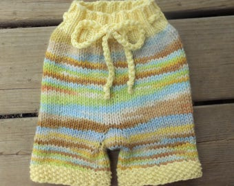 Handknit Wool Shorts, Wool Soaker, Wool Diaper Cover, Cloth Diaper Cover, size Medium