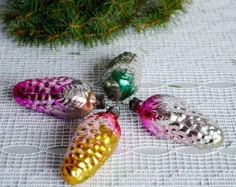 Vintage glass Pine cones, set 4 Pine cone, woodland forest, Christmas Ornament, Xmas tree decorations, USSR Christmas, winter home decor