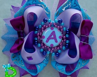 Boutique Hair Bow , MLP Stacked Bow, Layered Bow , Ott Bow , Purple Boutique Bow