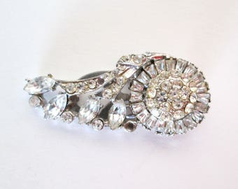 1930s Figural Floral Rhinestone Dress Fur Clip Clear Prong and Pave Set Stones Marked With Pat Number