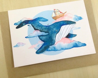 A6 Whale in the Clouds Card
