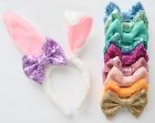 Light Pink Sparkle Bow Bunny
