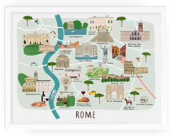 Rome map illustrated print - map print illustration rome map rome map print rome art rome map art rome print rome wall art