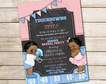 Personalized Touchdowns or Tutus Gender Reveal Party Invitations 5x7 or 4x6 - Digital File or Printed Copies Boy or Girl  Blue Pink Football