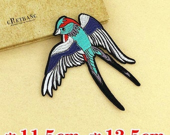 Bird embroidered patch vintage embroidered applique patch fly bird patch