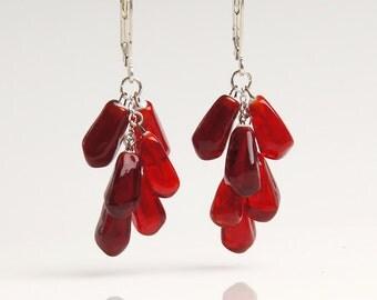 Pomegranate lampwork earrings, garnet earrings, fruit earrings, dark red earrings, nature earrings, ruby earrings, pomegranate jewelry
