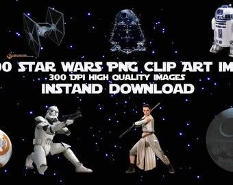 100 Star Wars PNG Clip Art, Instant Download, Scrapbook Party