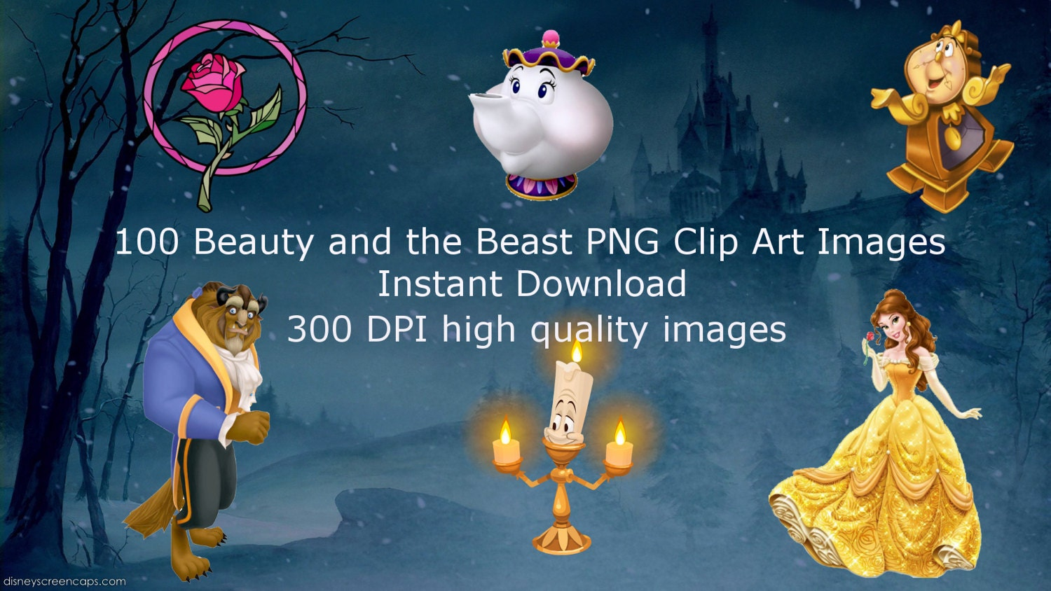Download Beauty And Beast: 100 Beauty And The Beast PNG Clip Art, Instant Download