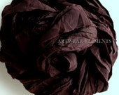 Dark Chocolate Raisin Wine, Fair Trade, 5 Yds, Brown Raisin Sari Silk, Yarn, Art Yarn, Ribbon, Silk, Multicolored, Artwear Elements, 157