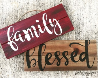 Rustic hand painted Wooden Sign Home Decor Family and Blessed shabby chic