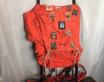Hiking Backpack Orange Vintage Metal External Frame Souvenir Travel Patches