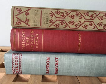 Vintage Antique Decorative Book Stack Red Blue Green Muted Classic Set of 3 1930s - 40s
