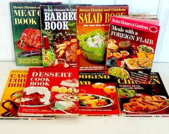 8 Better Homes and Gardens Cook-Books Collection:  Vintage; Learn-How-To-Cook; Foreign Desserts Salad BBQ, Chicken Slowcooker Meat For-Two