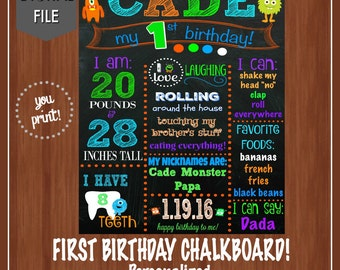 Monster Themed First Birthday Chalkboard File - Monsters - Boy Birthday Chalkboard - Monster Party - Orange - Blue - Green - Purple - Boys