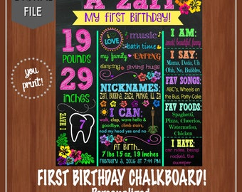 Luau Themed First Birthday Chalkboard - Digital - First Birthday Chalkboard - Luau Party - First Birthday Sign - Hawaiian Themed Party