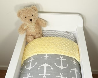 Bassinet set - Grey and yellow anchors, nautical
