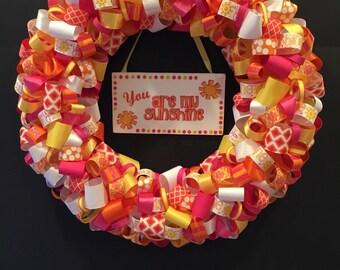 You Are My Sunshine ribbon wreath