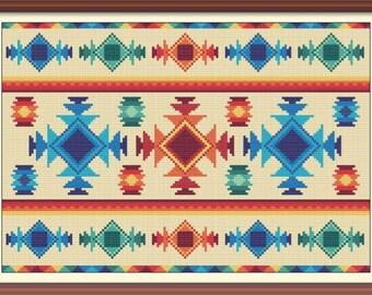 Rug 1 Modern Cross Stitch Pattern PDF Counted Cross Stitch Ethnic Cross Stitch Geometric Tribal