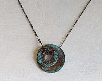 Upcycled Washer Necklace.Rustic Blue Circle Gunmetal Chain or Cord Necklace.Upcycle Industrial Urban Edgy Boho Birthday Gift Her Him Jewelry