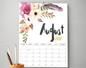 2017 Wall Calendar, 11x14, Wall Calendar, Watercolor Flower (cal0045)