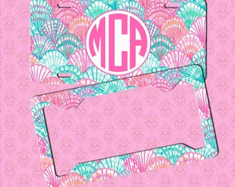 Monogram License Plate Frame - Monogram Lilly Pulitzer Inspired Car Tag Frame - License Plate - Car Tag Monogram License Plate Frame