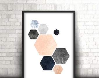 Gexagons Print, Printable Art, Geometric Art print, Scandinavian Design, Geometric Art, Minimalist Art, Abstract Wall Art, Art Poster *59*