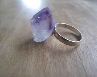 Amethyst Crystal Sterling Silver Ring
