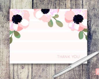 Three Poppies Note Card | Three Pink Poppies Thank You Cards | Thank You Card Set | Floral Note Card Set