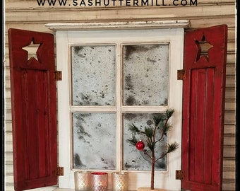Rustic Shutter Window with Christmas Flair