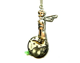 Planet of The glass, Steampunk necklace, satellite pendant, old clockwork, silver colored chain, unique gift for boy, girl, mens, woman, man