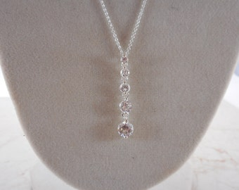 Vintage Sterling Silver CZ Drop Pendant Chain Necklace 17 1/2 inch