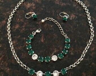 May Emerald Swarovski Elements Three Piece Necklace, Bracelet Earrings Set