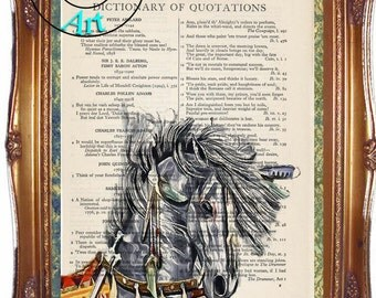 Dark Gray War Pony Critter Graphics & Simplify Altered Art Vintage Dictionary Page Art Print Upcycled Page Print
