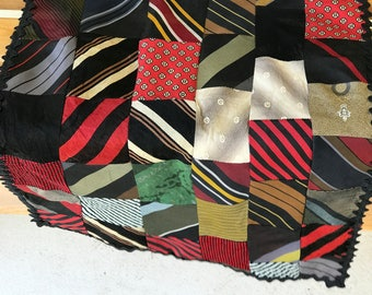 Vintage Handmade Necktie Tablerunner/Patchwork/1950s to 1970s ties/Multicolor/50 inches long/country cabin/folk art