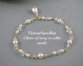 Bridal bracelet, Bridesmaid bracelet, Bridal jewelry, Bridesmaid jewelry, 14k gold filled jewelry, Swarovski crystal pearl bracelet ivory