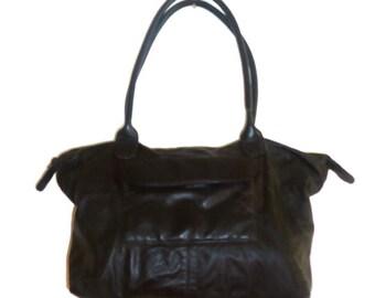 Large Black Leather Shoulder Bag Purse Handbag Carry All Satchel Book Bag Tote XL Extra Large
